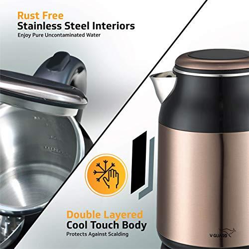 V-Guard VKS17 Prime Steel Electric Kettle (Copper Black)